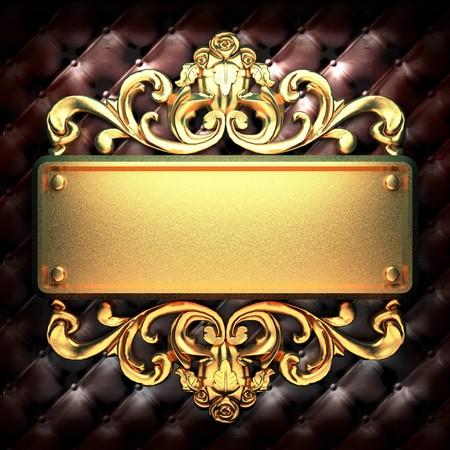 placa bacteriana: Adorno de oro sobre cuero hecha en 3D  Foto de archivo