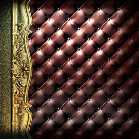 golden ornament on leather made in 3D Stock Photo - 7905268