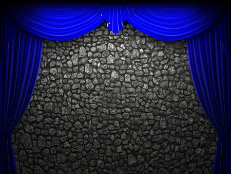 blue velvet curtain opening scene made in 3d photo