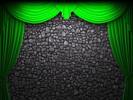 green velvet curtain opening scene made in 3d photo