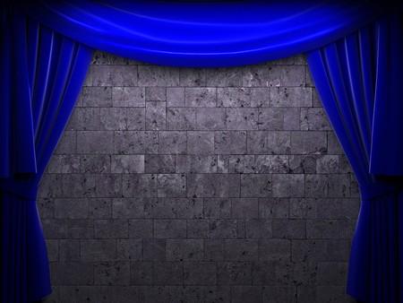 blue velvet curtain opening scene made in 3d Stock Photo - 7977467