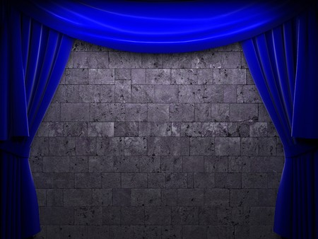 blue velvet curtain opening scene made in 3d Stock Photo - 7977467
