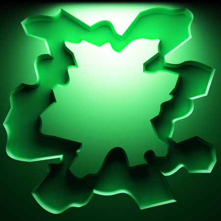 green abstract plate made in 3D graphics photo