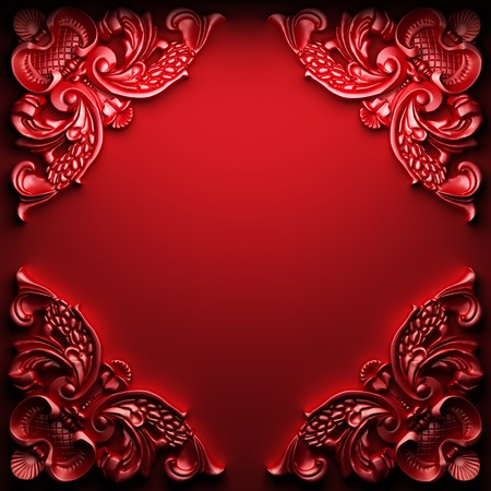 baroque border: red abstract ornament made in 3D graphics Stock Photo
