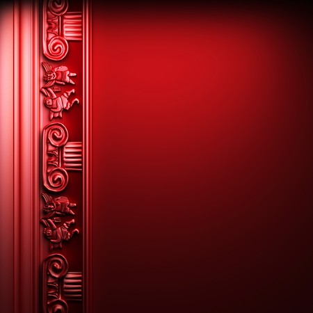 red abstract ornament made in 3D graphics photo