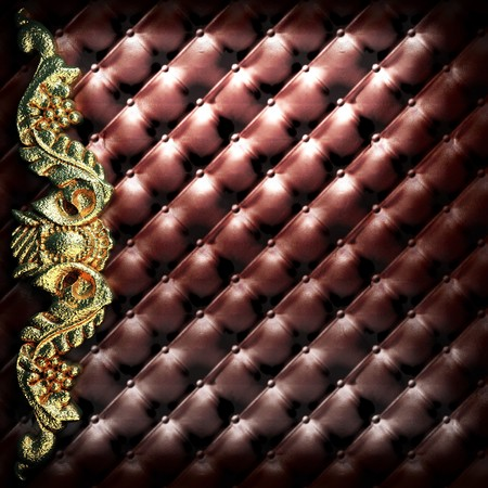 golden ornament on leather made in 3D Stock Photo - 7977456