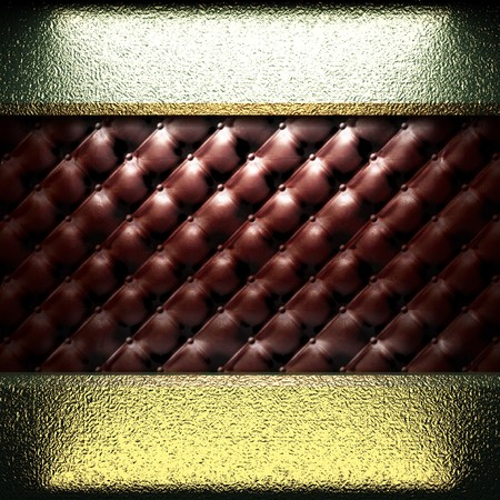 golden plate on leather made in 3D Stock Photo - 7977460
