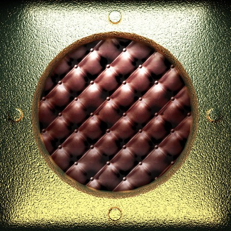 golden plate on leather made in 3D photo