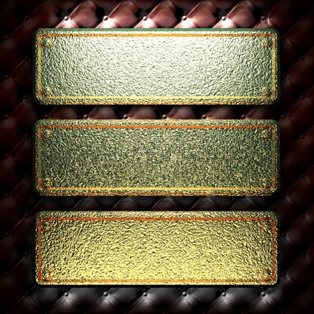 golden plate on leather made in 3D Stock Photo - 7977470