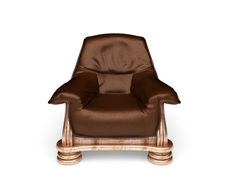 isolated classic leather chair made in 3d photo