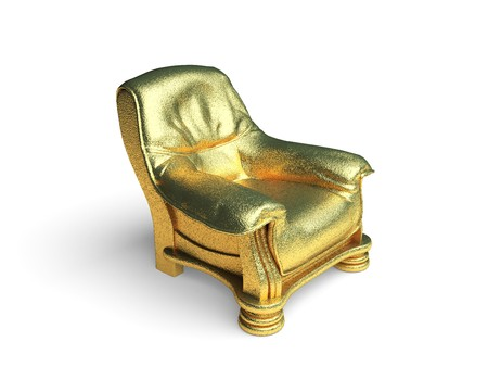 isolated golden chair made in 3d graphics Stock Photo - 8116317