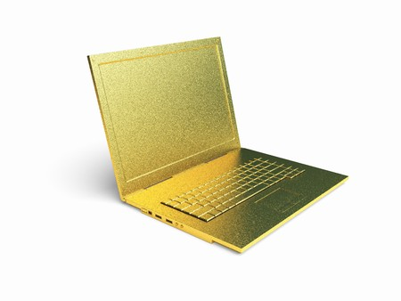 isolated golden laptop made in 3d graphics photo