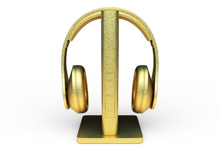 isolated golden headphones made in 3d graphics photo