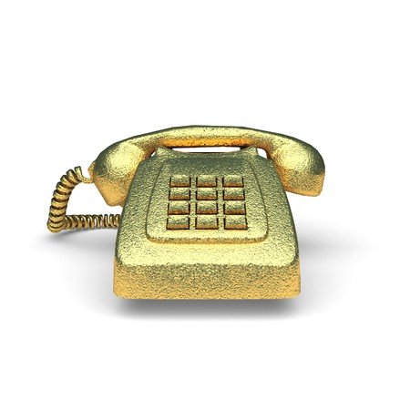 isolated golden Old Phone made in 3d graphics photo
