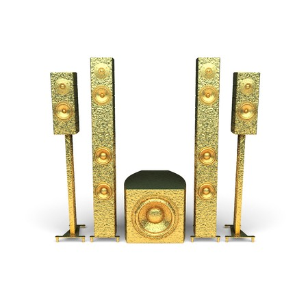 isolated golden speakers made in 3d graphics photo
