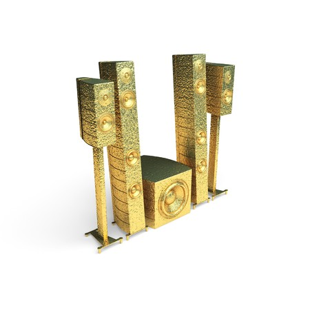 isolated golden speakers made in 3d graphics Stock Photo - 8159459