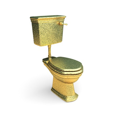 toilet bowl: isolated golden toilet bowl made in 3d graphics