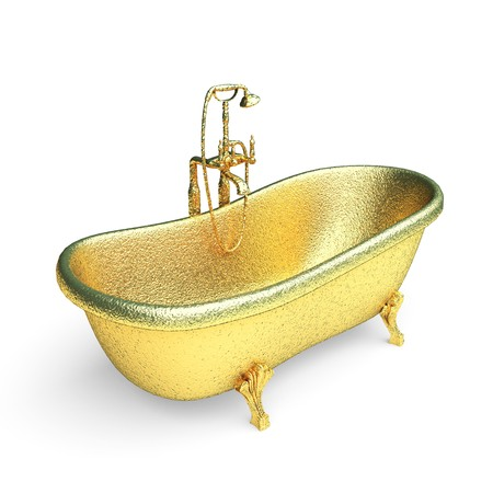 isolated golden Luxury bath made in 3d graphics Stock Photo - 8159470