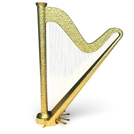 isolated golden harp made in 3d graphics photo
