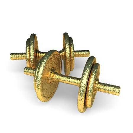 isolated golden dumbbell made in 3d graphics photo