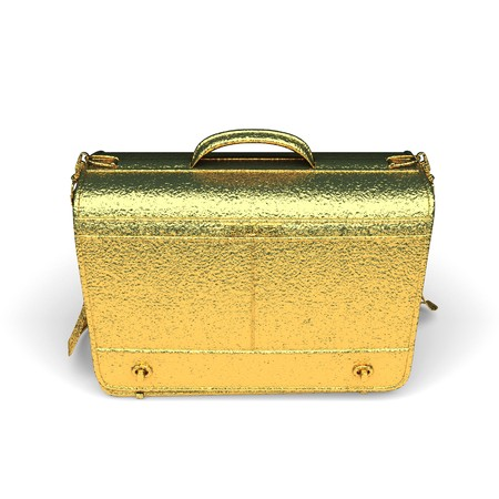 isolated golden Business briefcase made in 3d graphics photo