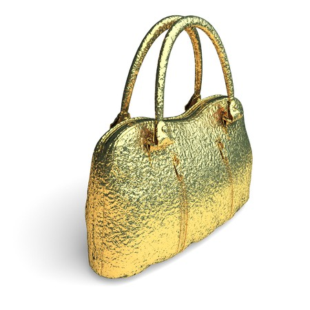 isolated golden bag made in 3d graphics photo