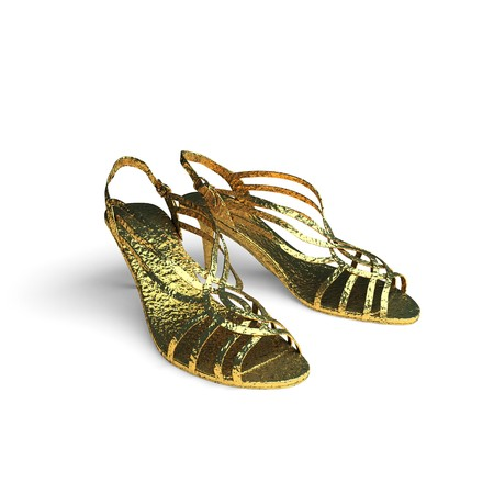 isolated golden shoes made in 3d graphics photo