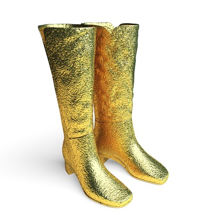 isolated golden Female high boots made in 3d graphics photo