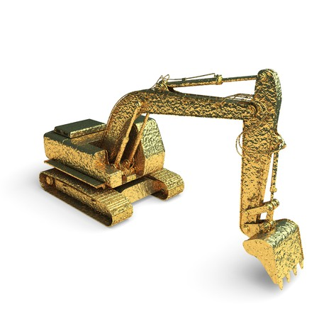 isolated golden excavator made in 3d graphics photo