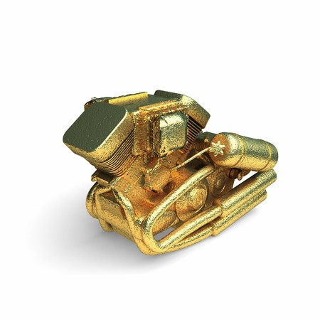 isolated golden motor made in 3d graphics photo