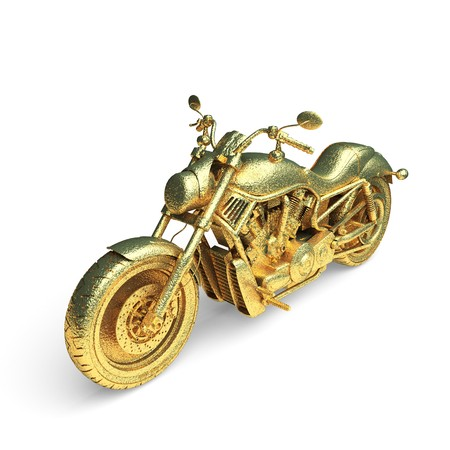 isolated golden motorcycle made in 3d graphics photo