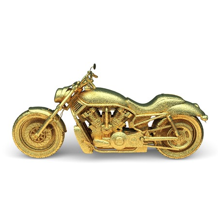 isolated golden motorcycle made in 3d graphics Stock Photo - 8159486