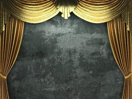 escena de apertura de la cortina de oro hecho en 3d