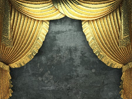 golden curtain opening scene made in 3d Stock Photo - 8225465