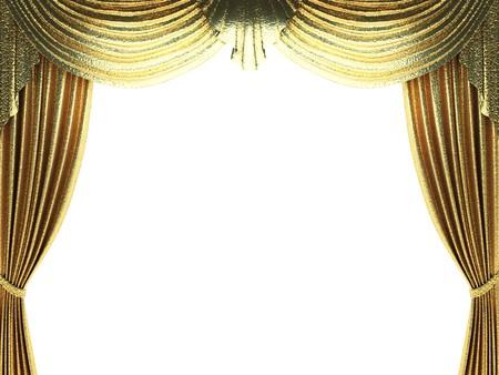 telon de fondo: escena de apertura de la cortina de oro hecho en 3d  Foto de archivo
