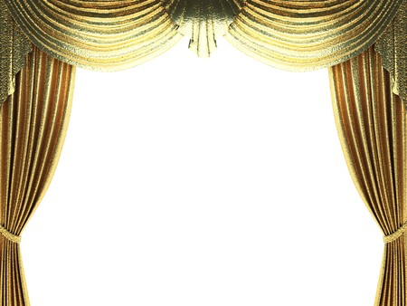 curtain: golden curtain opening scene made in 3d