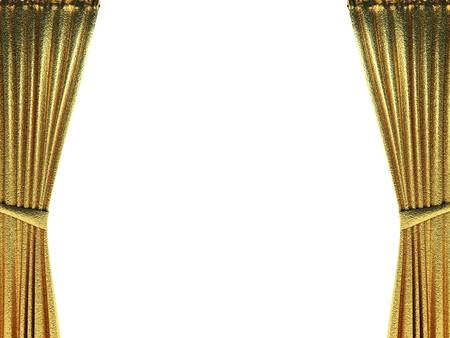 velvet: golden curtain opening scene made in 3d