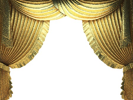 golden curtain opening scene made in 3d photo