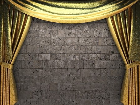 opulence: golden curtain opening scene made in 3d