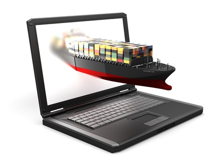ship captain: isolated laptop and the sheep made in 3D