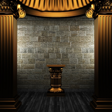 bronze columns and pedestal made in 3D Stock Photo - 8435487