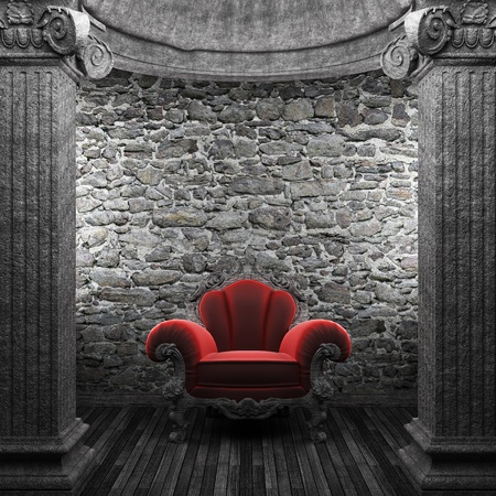 stone columns and chair made in 3D photo