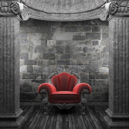 pilaster: stone columns and chair made in 3D