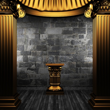 bronze columns and pedestal made in 3D Stock Photo - 8435493