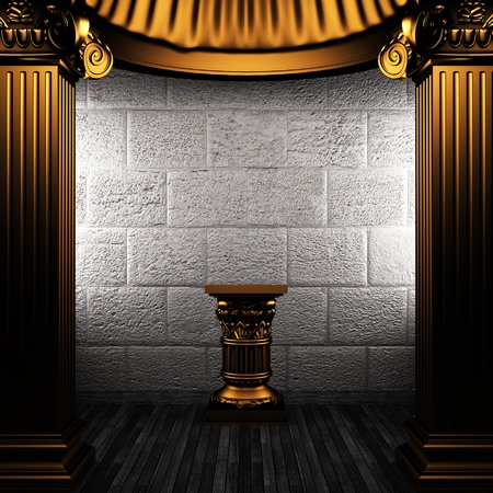 bronze columns and pedestal made in 3D Stock Photo - 8435491