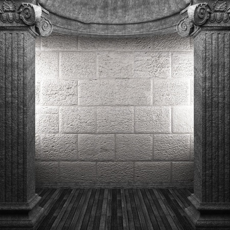 pilaster: stone columns and wall made in 3D