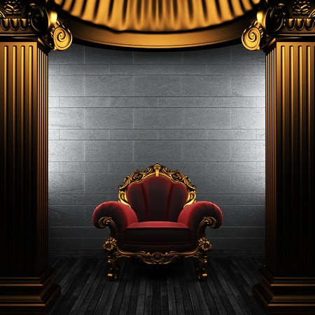 bronze columns and chair made in 3D Stock Photo - 8435445