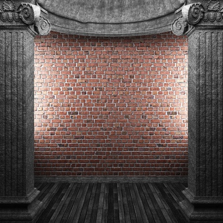 stone columns and wall made in 3D photo