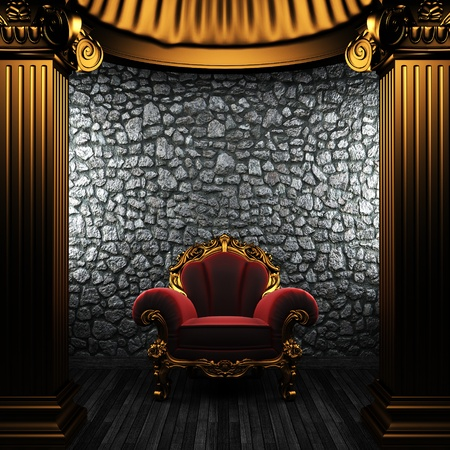 bronze columns and chair made in 3D Stock Photo - 8435442