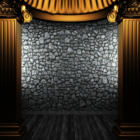 bronze columns and wall made in 3D Stock Photo - 8435444